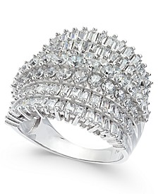 Cubic Zirconia Multi-Row Cluster Statement Ring in Sterling Silver