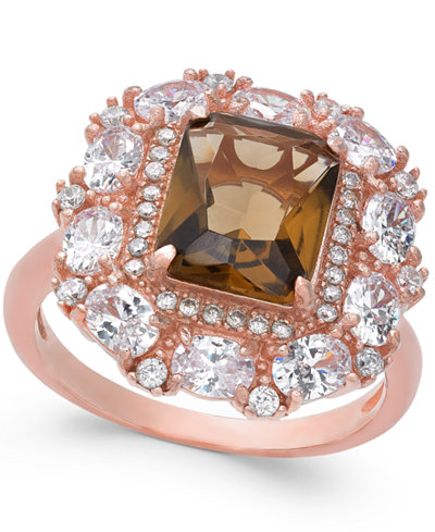 Simulated Smoky Topaz & Cubic Zirconia Ring in 14k Rose Gold-Plated Sterling Silver