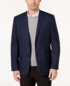 Lauren Ralph Lauren Men's Slim-Fit Navy Houndstooth Windowpane Ultraflex Wool Sport Coat