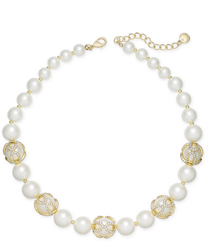 Charter Club Gold-Tone Imitation Pearl and Pavé Collar Necklace, Created for Macy's