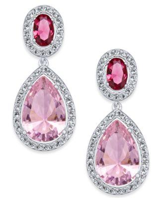 Silver-Tone Crystal Teardrop Drop Earrings, Created for Macy's