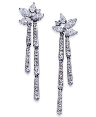 Silver-Tone Marquise Cluster Dangle Drop Earrings, Created for Macy's