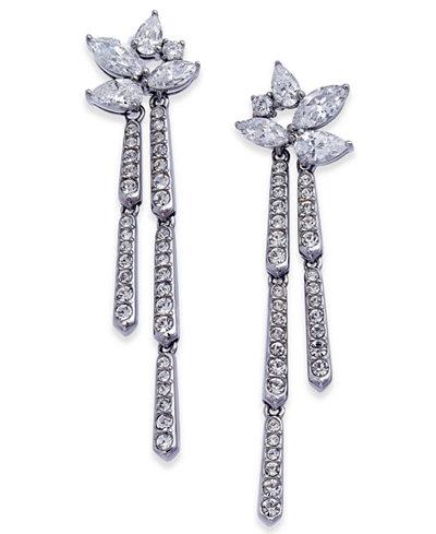 Danori Silver-Tone Marquise Cluster Dangle Drop Earrings, Created for Macy's