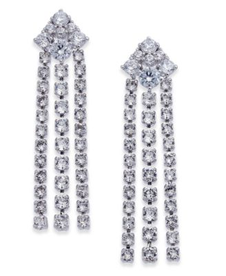 Silver-Tone Crystal Chain Drop Earrings, Created for Macy's