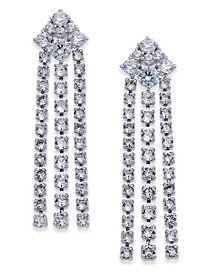 Danori Silver-Tone Crystal Chain Drop Earrings, Created for Macy's