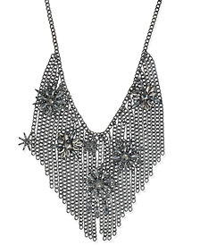 I.N.C. Hematite-Tone Crystal Starburst Fringe Statement Necklace, Created for Macy's