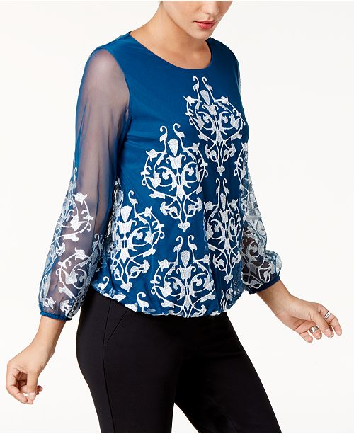 Alfani Embroidered Mesh Top, Created for Macy's