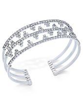 I.N.C. Silver-Tone Openwork Pavé Cuff Bracelet, Created for Macy's