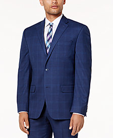 Sean John Men's Classic-Fit Stretch Dusty Blue Windowpane Suit Jacket