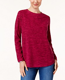 Petite Space-Dyed Microfleece Pullover, Created for Macy's
