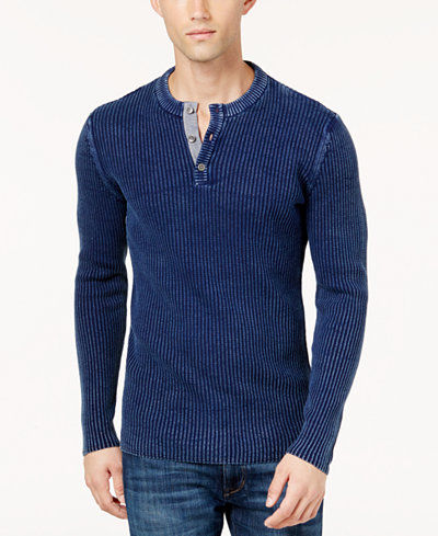 American Rag Men's Chambray Henley Sweater, Created for Macy's