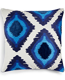 "CLOSEOUT! Lucky Brand 20"" x 20"" Embroidered Ikat Decorative Pillow, Created for Macy's"