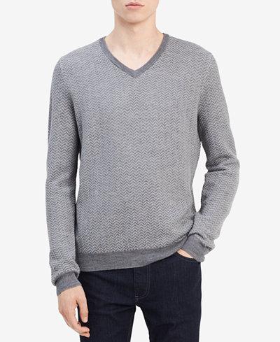 Calvin Klein Men's Chevron Merino Sweater