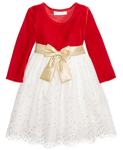 Bonnie Baby Stretch Velvet & Glitter Mesh Dress, Baby Girls