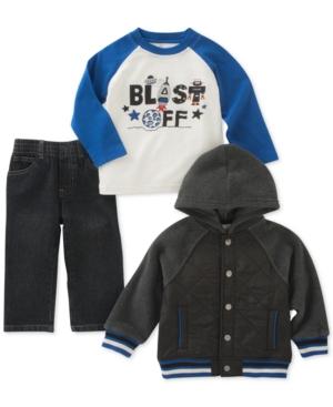 Kids Headquarters 3Pc Hooded Jacket Blast Off TShirt  Jeans Set Baby Boys (024 months)