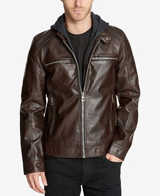 Guess Men S Faux Leather Detachable Hood Motorcycle Jacket Coats