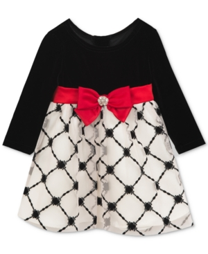 Rare Editions Velvet Flocked Dress Baby Girls (024 months)