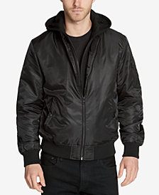 GUESS Men's Bomber Jacket with Removable Hooded Inset
