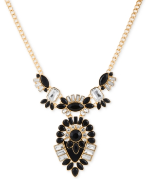 Guess  GOLD-TONE CLEAR & JET CRYSTAL STATEMENT NECKLACE
