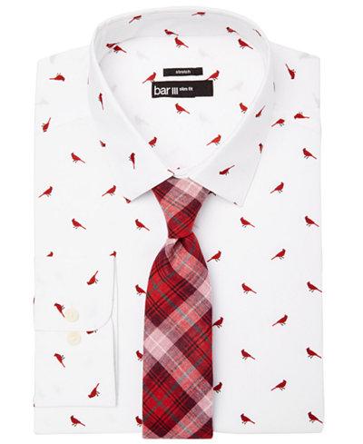 Bar III Men's Cardinal-Print Dress Shirt & Plaid Tie, Created for Macy's