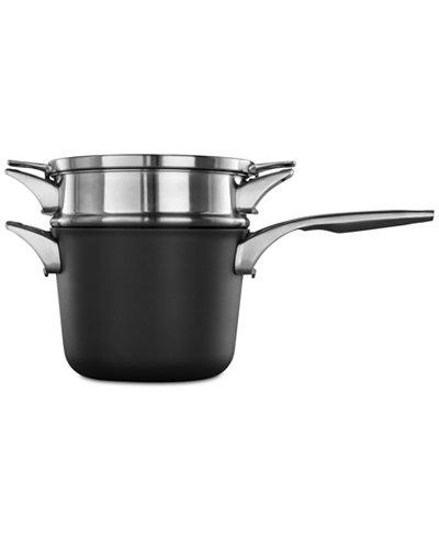 calphalon premier space saving hard anodized non stick 4 5 qt doubler boiler saucepan. Black Bedroom Furniture Sets. Home Design Ideas