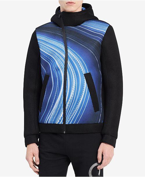 Calvin Klein Men's Ck One Printed Asymmetrical Full-Zip Hooded Jacket, Created for Macy's