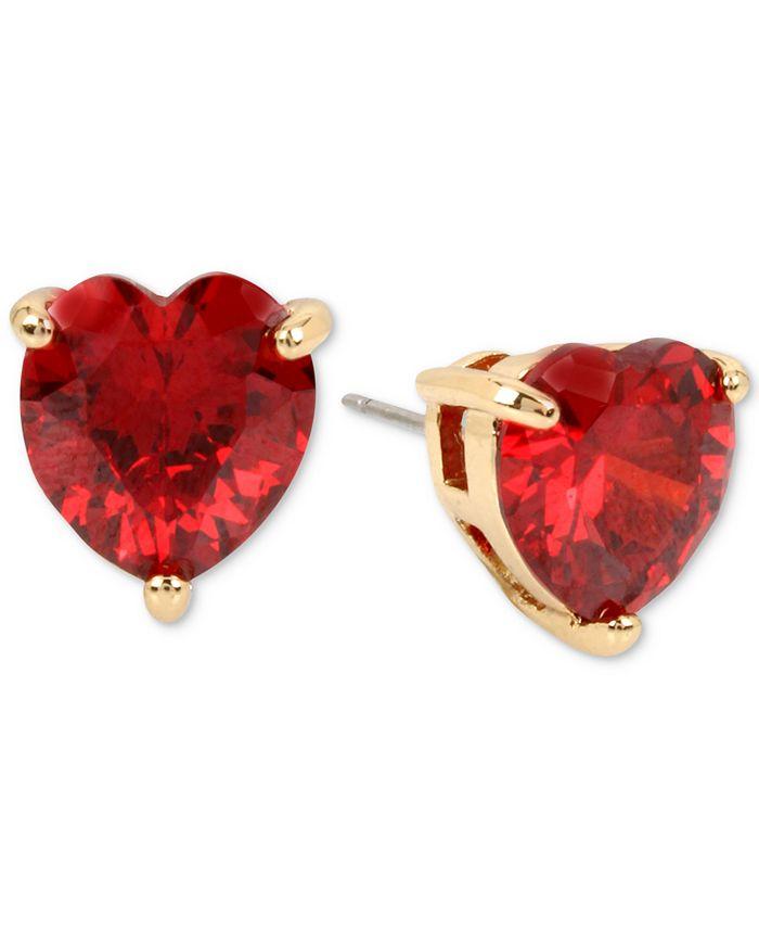 Betsey Johnson - Colored Cubic Zirconia Heart Stud Earrings