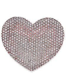 Joan Boyce Rose Gold-Tone Pavé Heart Pin