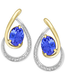 Tanzanite Royalé by EFFY® Tanzanite (1-1/3 ct. t.w.) & Diamond (1/6 ct. t.w.) Drop Earrings in 14k Gold & White Gold