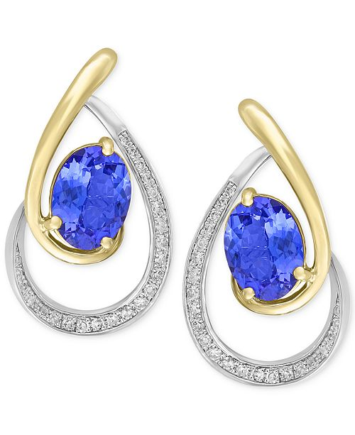 EFFY Collection Tanzanite Royalé by EFFY® Tanzanite (1-1/3 ct. t.w.) & Diamond (1/6 ct. t.w.) Drop Earrings in 14k Gold & White Gold