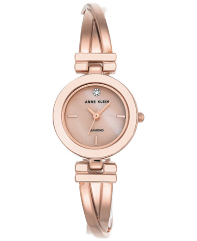 Anne Klein Women's Diamond-Accent Rose Gold-Tone Bangle Bracelet Watch 24mm