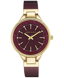 Anne Klein Women's Burgundy Bangle Bracelet Watch 36mm