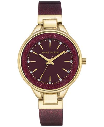 Anne Klein Women's Burgundy Bangle Bracelet Watch 36mm