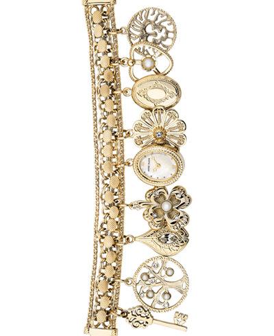 Anne Klein Women's Gold-Tone Charm Bracelet Watch 18x22mm