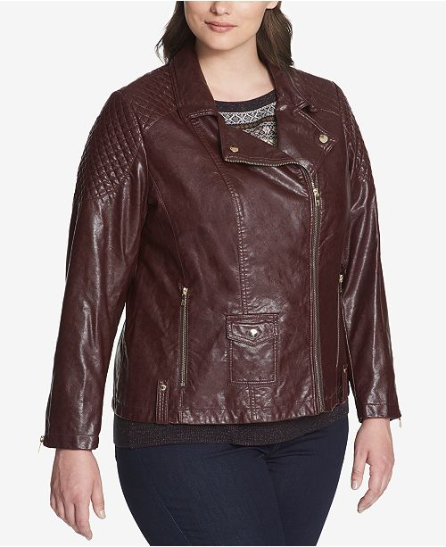 2f3a59f957d ... Tommy Hilfiger Plus Size Quilted Faux-Leather Biker Jacket