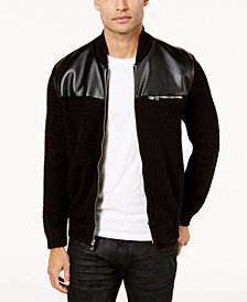 I.N.C. Men's Mixed Media Sweater-Jacket, Created for Macy's