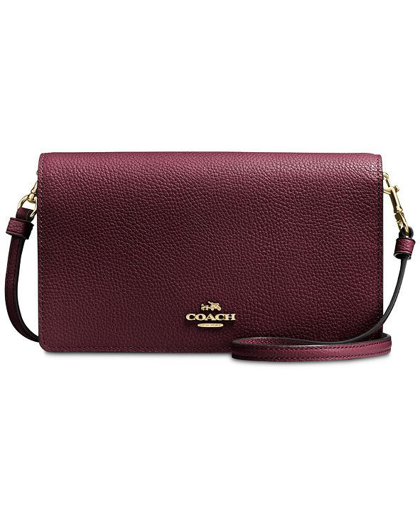 COACH Foldover Crossbody Clutch in Polished Pebble Leather
