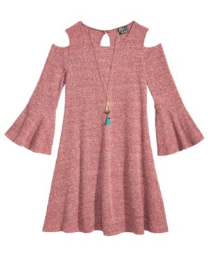 Pink & Violet Cold Shoulder Sweater Dress & Necklace Set, Big Girls (7-16) 4848249