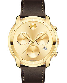 Movado Men's Swiss Chronograph BOLD Brown Leather Strap Watch 44mm
