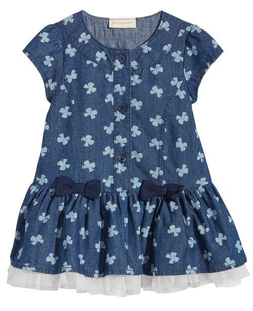 First Impressions Butterfly-Print Denim Dress, Baby Girls, Created for Macy's