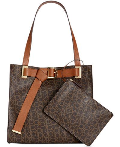 Calvin Klein Nola Signature Tote Handbags Accessories Macy S