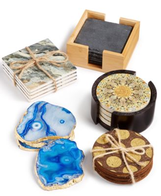 CLOSEOUT Set of 4 Marble & Blue Terrazzo Coasters