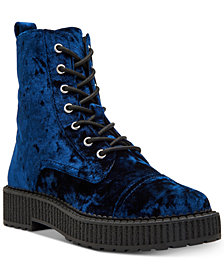 Katy Perry Gia Velvet Combat Booties