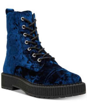GIA VELVET COMBAT BOOTIES WOMEN'S SHOES