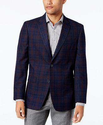 Tommy Hilfiger Men's Slim-Fit Navy Plaid Sport Coat - Blazers ...