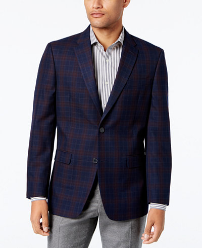 Tommy Hilfiger Men's Slim-Fit Navy Plaid Sport Coat - Blazers ...
