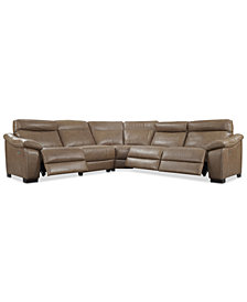 Gennaro 5-pc Leather Sectional Sofa with 3 Power Recliners with Power Headrests, Created for Macy's