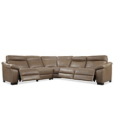 CLOSEOUT! Gennaro 5-pc Leather Sectional Sofa with 3 Power Recliners with Power Headrests, Created for Macy's