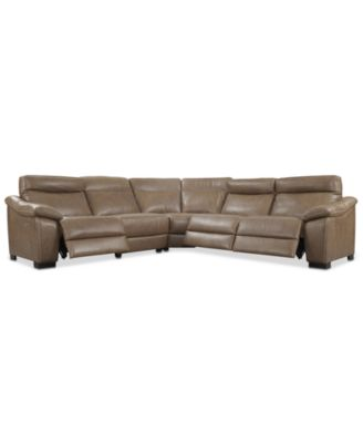 Gennaro 5 Pc Leather Sectional Sofa With 3 Power Recliners With Power  Headrests, Created