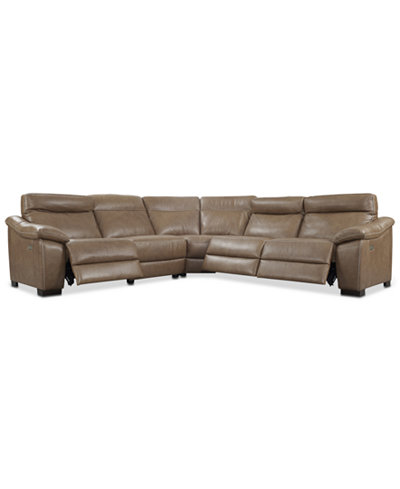 Gennaro 5 Pc Leather Sectional Sofa With 3 Power Recliners